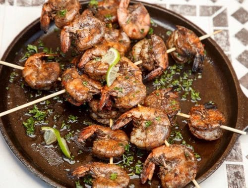 spicy jerk shrimp on skewers by chef camerron dangerfield