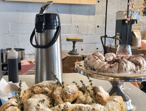 Coffee and pastry station at La Vie En Rose Cafe