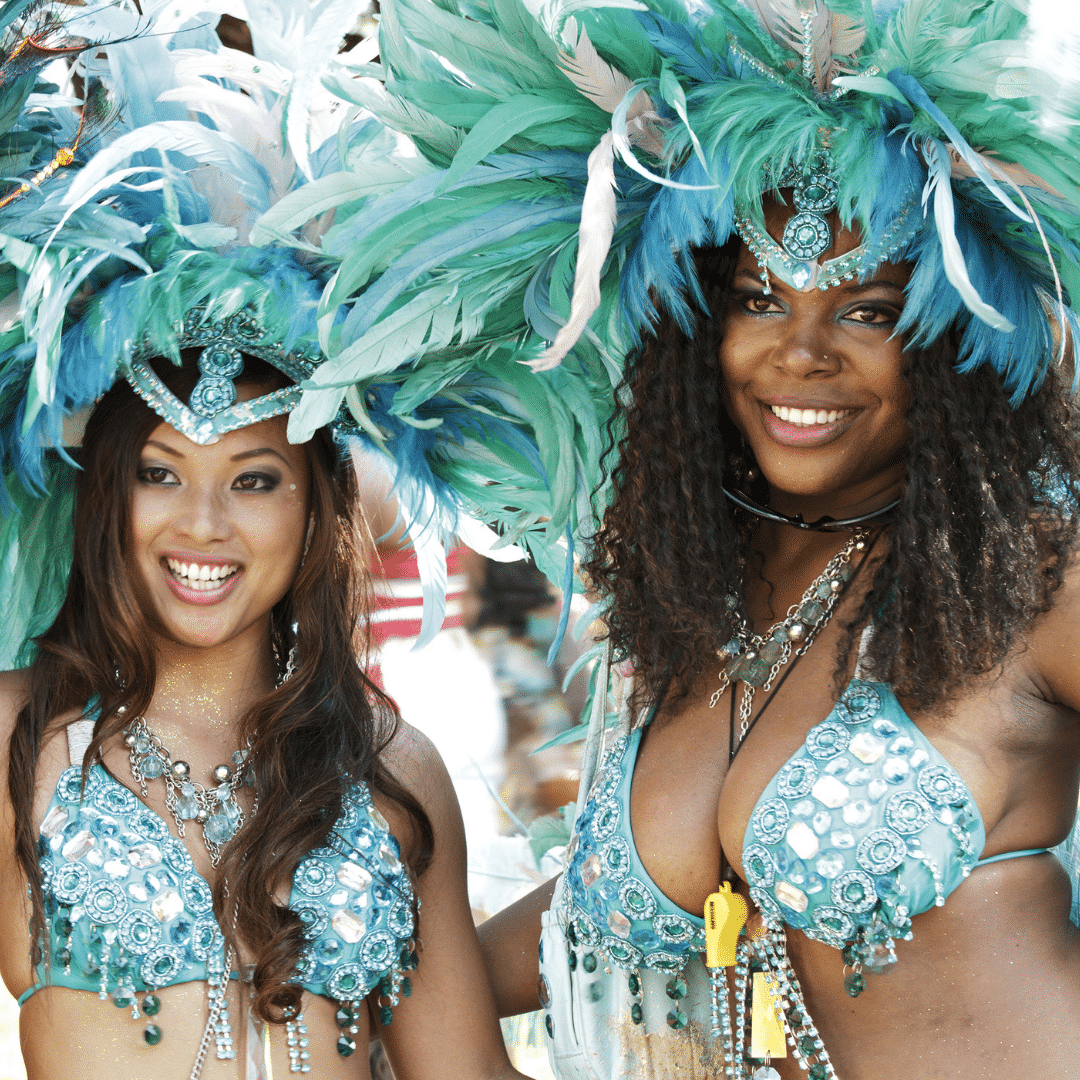 Two women in full regalia at Toronto's Caribana festival.