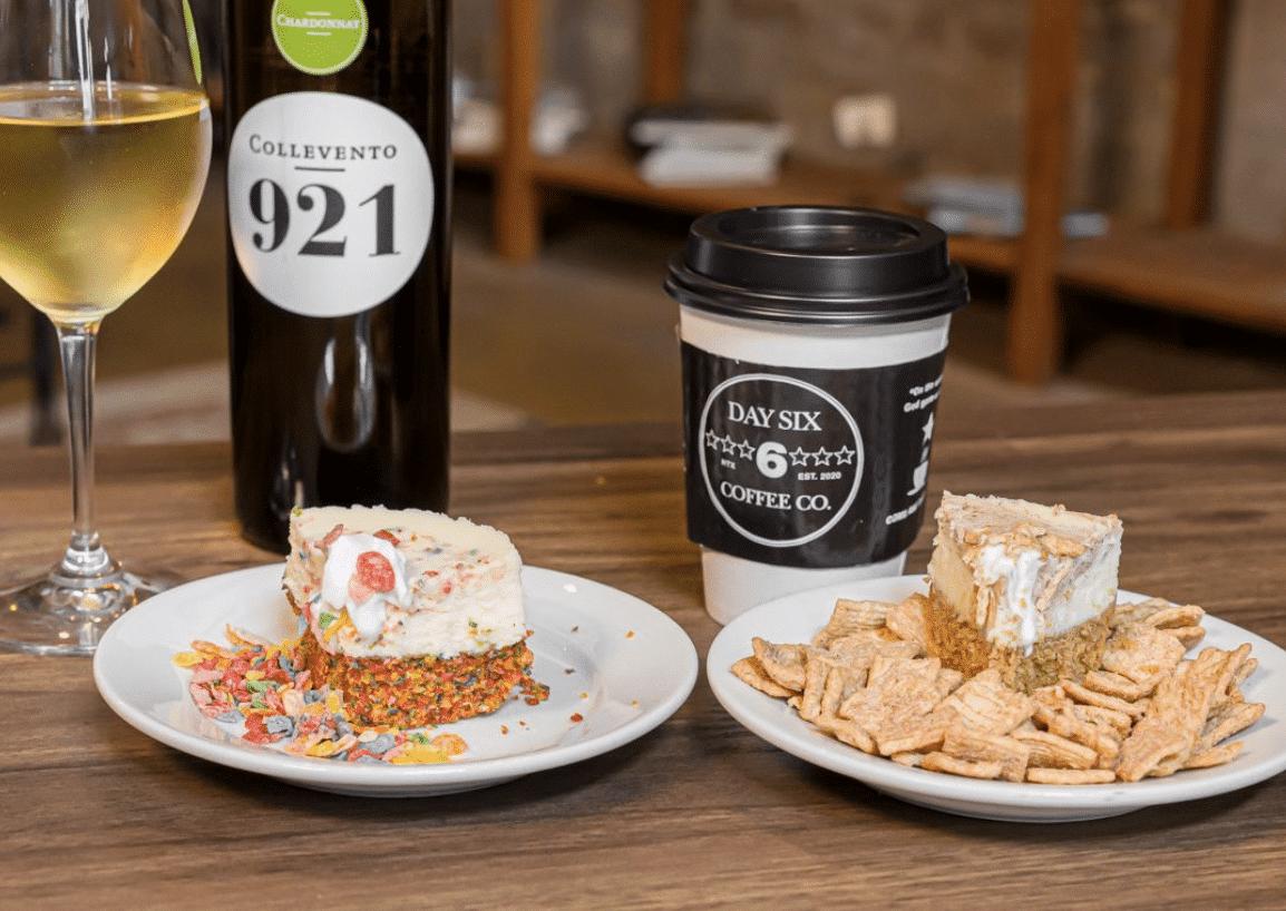 Cheesecake, wine and coffee