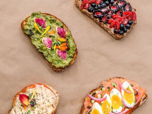 A selection of decadent, loaded toasts from Hilltop Kitchen