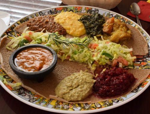 Platter of Ethiopian food from Addis NOLA