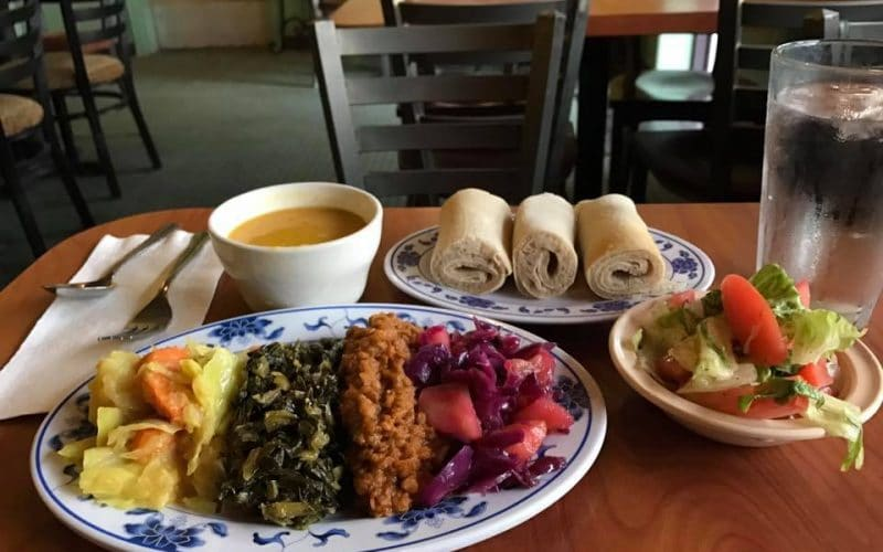 Spread of traditional Ethiopian food from Blue Nile Cafe
