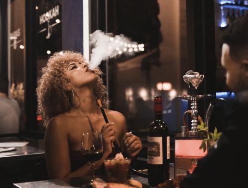 woman smoking hookah