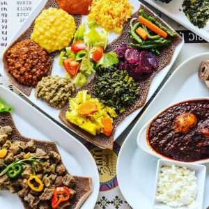 Traditional Ethiopian food platter from Delish Ethiopian