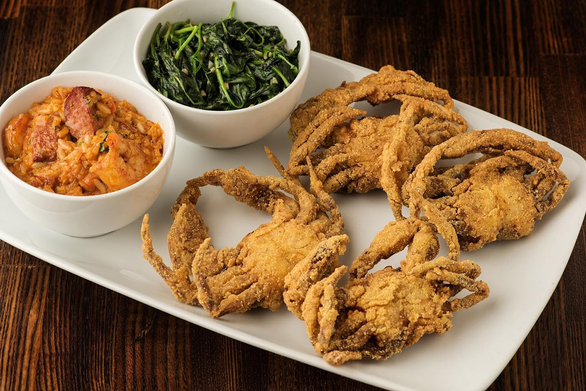 Fried crabs, yams, and sauteed spinach from Harold and Belle's Cajun and Creole