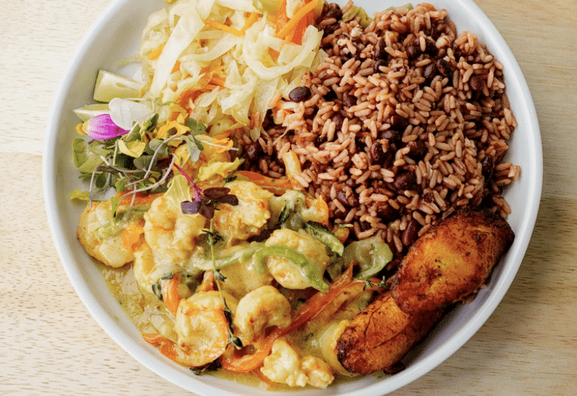 A plate of food from Jamaica Pon Di Road in houston.