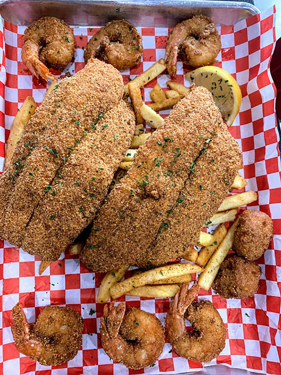 Fried fish, fries and hush puppies from Kid Kreole Kooking's best creole food
