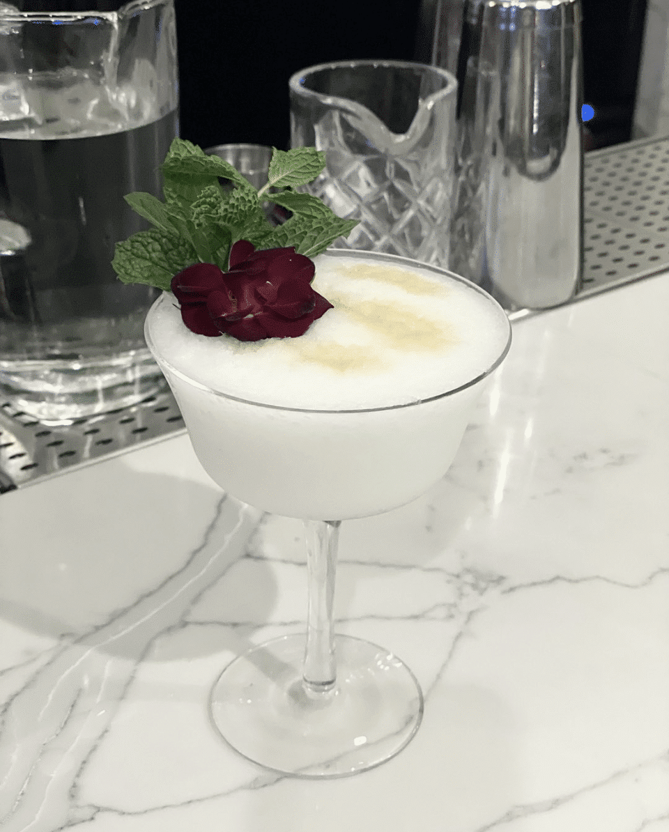 Beautiful, artsy cocktail from the new Mushin Black owned sports bar.